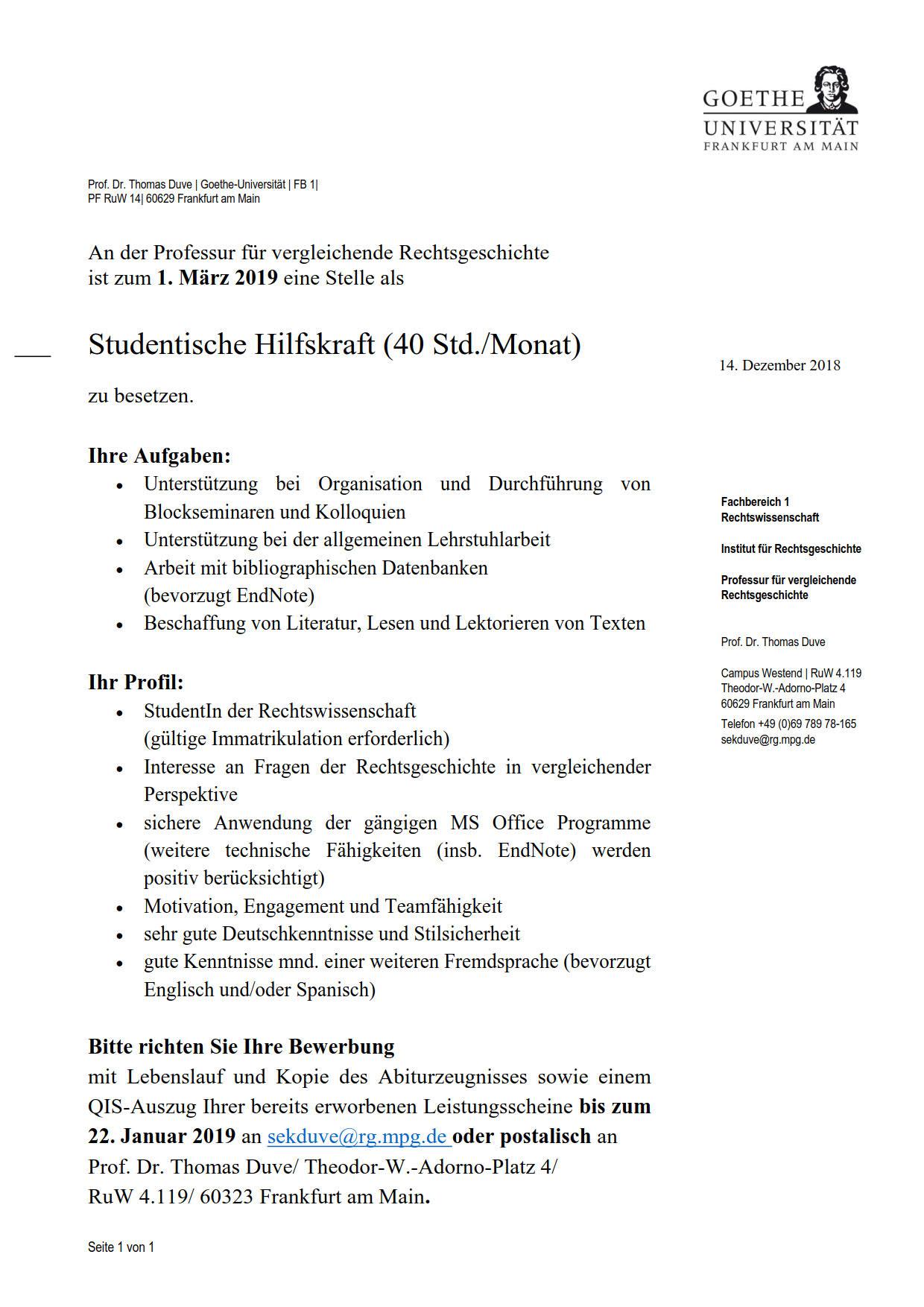 Goethe Universität Professur Für Vergleichende Rechtsgeschichte